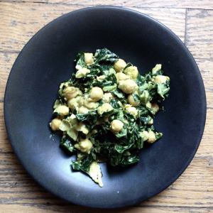creamy chickpea, curry, collard salad